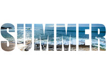 Word SUMMER over The stony coast of the Mediterranean Sea. Waves Royalty Free Stock Photography