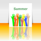 Word summer and people hands, holiday concept Stock Photography