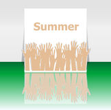 Word summer and people hands, holiday concept, icon design Royalty Free Stock Images