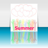Word summer and people hands, love hearts, holiday concept, icon design Royalty Free Stock Images