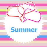 Word summer and speaking bubble, chalk drawings, summer holiday Royalty Free Stock Images