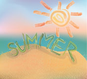Word summer. sun. Painted paint. Beach. Royalty Free Stock Photography