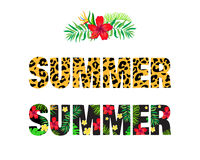 Word summer with a tropical floral pattern Stock Photography