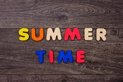 Word summer from wooden letters stock photos
