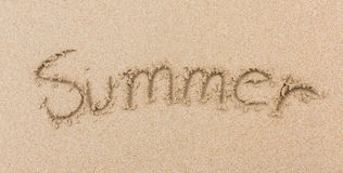 Word Summer Written in the Sand on a Beach the sea Royalty Free Stock Image