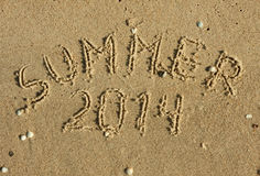 The word summer written on the sand Royalty Free Stock Image