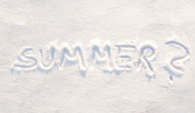 Word summer? written in snow Stock Photo