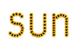 Word sun made of sunflowers Stock Photos