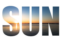 Word SUN over beautiful sunset picture in Key Largo, Florida, US Royalty Free Stock Photo