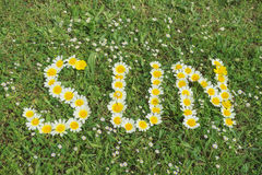 Word SUN written with blossoms Royalty Free Stock Photo