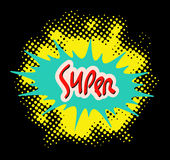 Word SUPER in comic popart style abstract halftone style background Royalty Free Stock Images