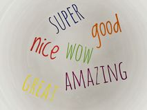 Word super good wow amazing and great in multicolor royalty free stock photo
