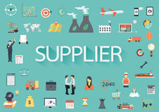 The word SUPPLIER with concerning flat icons around. stock illustration