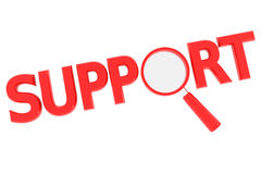 Word SUPPORT with magnifying glass replacing O. Red word SUPPORT with magnifying glass replacing letter O. Computer generated image vector illustration