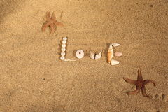Word sur le sable Photos stock