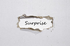 The word surprise appearing behind torn paper Royalty Free Stock Photography