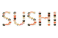 Word sushiillustratie Royalty-vrije Stock Foto's
