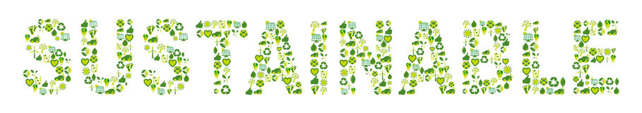 Word Sustainable filled with eco friendly and bio related icons Stock Images