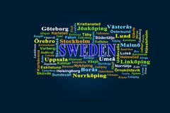 On a dark background is written the word Sweden and listed citie. Word Sweden on a dark background and names of Swedish cities in Swedish royalty free illustration