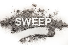 Word sweep written in accumulated pile of dirt, filth, dust, ash. Word sweep written in accumulated pile of grey dirt, filth, dust, ash, soil as cleaning Royalty Free Stock Photo