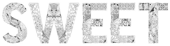 Word SWEET for coloring. Vector decorative zentangle object. Hand-painted art design. Adult anti-stress coloring page. Black and white hand drawn illustration royalty free illustration