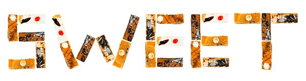 Word Sweet made of cakes Royalty Free Stock Photography