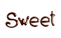 The word Sweet written by chocolate isolated on white. The word Sweet written by chocolate royalty free stock photos