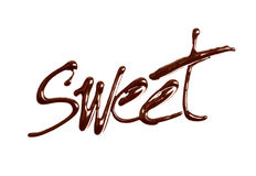 The word Sweet written by chocolate on white stock photos