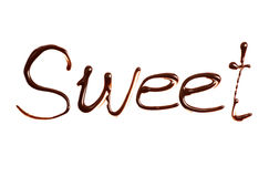 The word Sweet written by chocolate on white Royalty Free Stock Photos