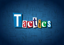 The word Tactics made from cutout letters. On a blue background Royalty Free Stock Images