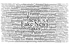 Word tag cloud on the topic of fake news. With black text  on white background Stock Images