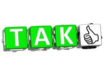The word Tak - Yes in many different languages. Stock Images