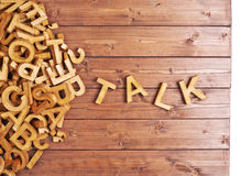 Word talk made with wooden letters Royalty Free Stock Photo