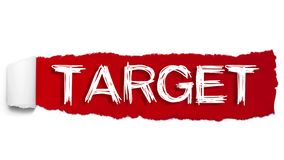 The word TARGET appearing behind red torn paper vector illustration