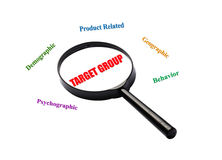The word target group is magnified. Stock Image