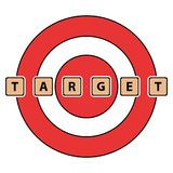 The word target spelled with tiles/blocks. On a red target backdrop. Isolated on white Stock Photography