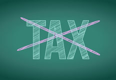 Word tax crossed out on a chalkboard Stock Photography
