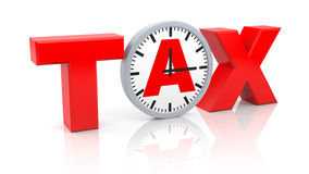 Word tax with watch Stock Image