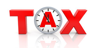 Word tax with watch Royalty Free Stock Photos