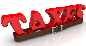 The word taxes is strapped with a belt Royalty Free Stock Images