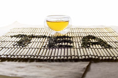 Word Tea from chinese green tea Royalty Free Stock Images