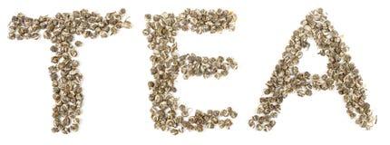 Word Tea made of elite oolong green tea Stock Photos