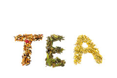 Word Tea Made Of Different Tea Species Stock Photo