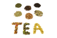 Word TEA with various flavors Stock Images