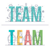 Word TEAM concept. Thin line set of stylized business people of words team. Doodle drawn style vector illustration. Minimal style of consept. Isolated teamwork stock illustration