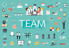 The word TEAM with long shadow is surrounded by concerning flat icons, Teamwork concept Royalty Free Stock Photos