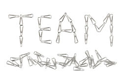 Word Team made of clips Stock Images