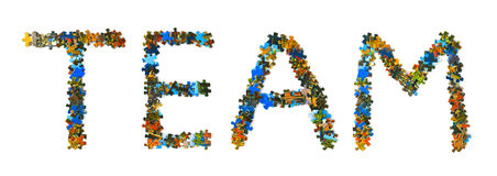 Word Team made of puzzle stock photography
