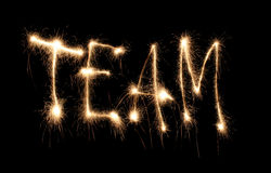 Word team written sparkler Stock Photography
