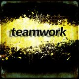 Word `teamwork` on black and yellow grunge background. Communication concept. Stock Photography